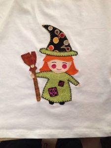 Aplicación  bruja infantil costura patchwork
